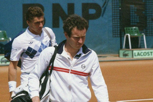 John McEnroe and Ivan Lendl during their 1984 final at the Roland Garros grand slam tournament.