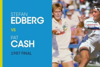 Stefan Edberg verslaat Pat Cash in de finale van de Australian open van 1987.