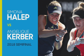 Halve finale tussen Angelique Kerber en Simona Halep op de Australian open in 2018.