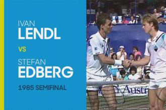 Stefan Edberg verslaat Ivan Lendl in de halve finale van de Australian open van 1985.
