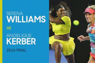 Williams tegen Kerber tijdens de Australian open 2016.